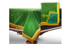 Чехол для б/стола 9-3 (зеленый с зеленой бахромой, с логотипом)
