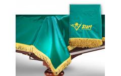 Чехол для б/стола 11-2 (зеленый с желтой бахромой, с логотипом)
